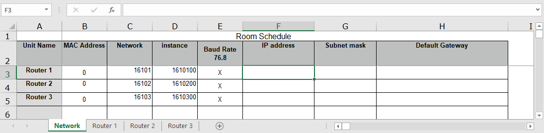 Hvac room schedule